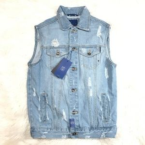 "ZARA DISTRESSED MENS DENIM VEST ""NWT"" ZARA VEST"
